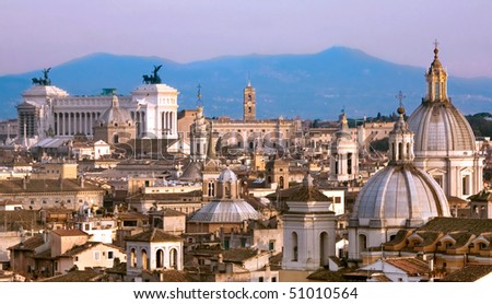 Travel Series - Italy. View above downtown of Rome, Italy. - stock photo