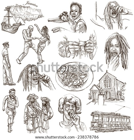 Travel series: JAMAICA - Collection (no.3) of an hand drawn illustrations. Description: Full sized hand drawn illustrations drawing on white background. - stock photo