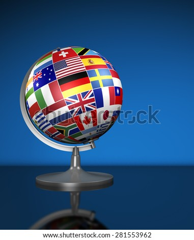 Travel, services, marketing and international business management concept with a school globe and international flags of the world, illustration on blue background. - stock photo
