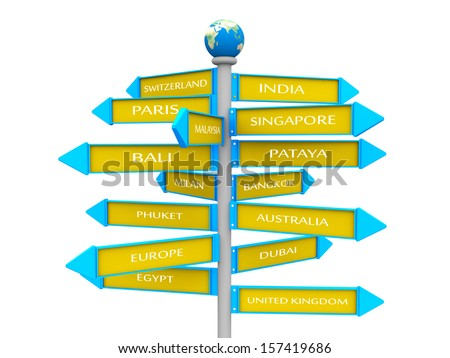 travel sign direction to visit choice country - stock photo
