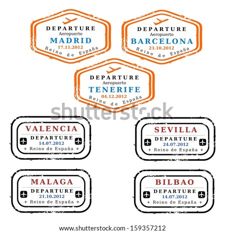Travel stamps from Spain. Grungy stamps (not real). Spanish destinations: Madrid, Barcelona, Tenerife, Valencia, Seville, Malaga and Bilbao. - stock photo