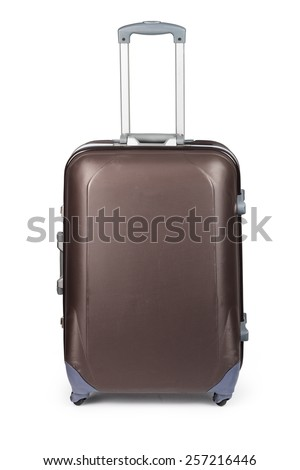 Travel suitcase isolated on white background - stock photo