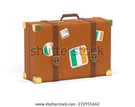 Travel suitcase with flag of ireland isolated on white - stock photo