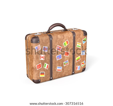 Travel Suitcase with flag stickers , Isolated on white , 3d render - stock photo