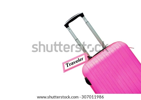 Travel. suitcase with label. - stock photo