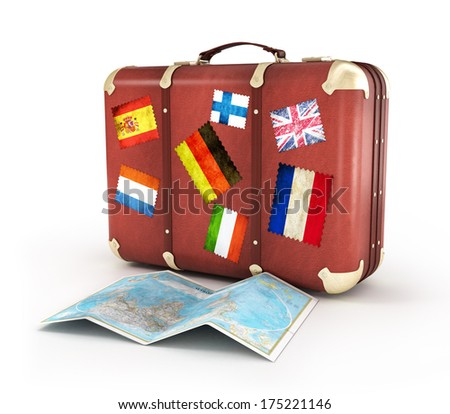 Travel Suitcase with stickers and world map. Isolated