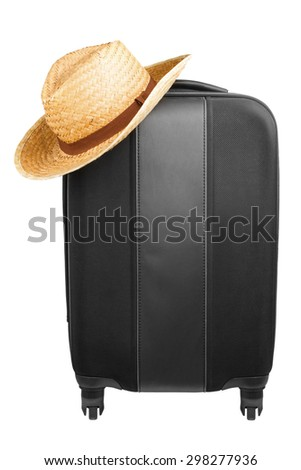Travel suitcase with straw hat isolated on white background. Travel concept  - stock photo