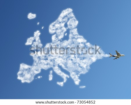Travel the world clouds concept : Europe - stock photo