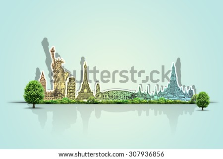 Travel the world monument concept  - stock photo