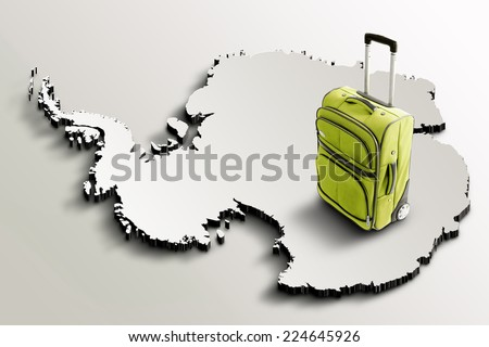 Travel to Antarctica. Green suitcase on 3d map - stock photo