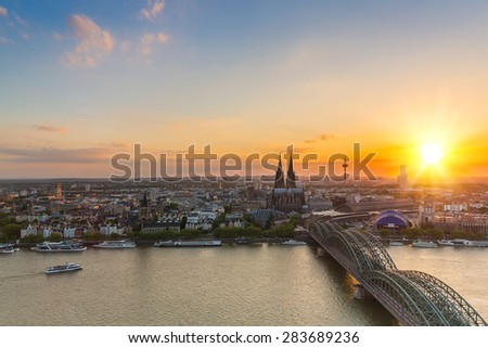 travel to cologne in germany at sunset  - stock photo