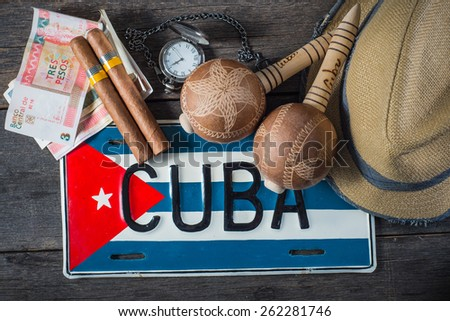 Travel to Cuba concept of holiday related items - stock photo