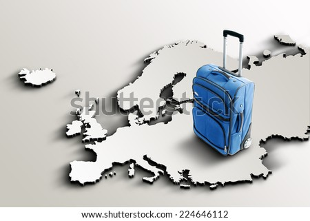 Travel to Europe. Blue suitcase on 3d map - stock photo