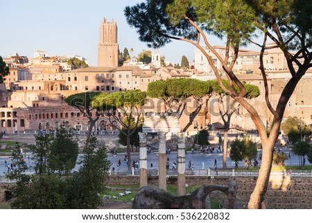 travel to Italy - view of forum of Caesar, road Via dei Fori Imperiali, Trajan's Forum in ancient roman forums in Rome city
