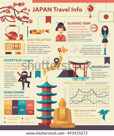 Travel japan info poster brochure cover stock illustration 493435072 travel to japan info poster brochure cover template layout with flat design icons of ccuart Choice Image