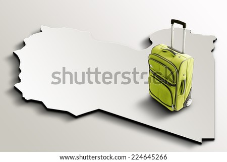 Travel to Libya. Green suitcase on 3d map of the country - stock photo