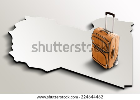 Travel to Libya. Orange suitcase on 3d map of the country - stock photo