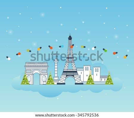 Travel to Paris for christmas. Cute invitation card with winter city life. Merry Christmas greeting card design. Paris Christmas winter. France Christmas and New Year. Winter season.  - stock photo