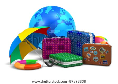 Travel, tourism and vacation concept: set of travel cases, umbrella, beach buoy, ball and blue Earth globe isolated on white background - stock photo