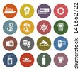 Travel, Vacation & Recreation, icons set - Retro color version. Vector version (eps) also available in gallery - stock photo