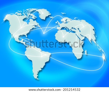 Travel World Indicating Traveller Roam And Global - stock photo
