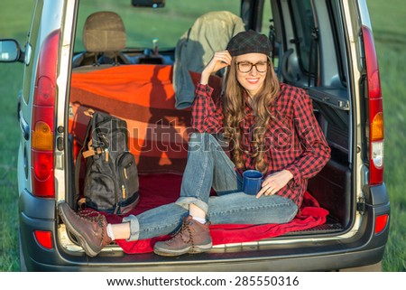 Travel - young woman travel by car