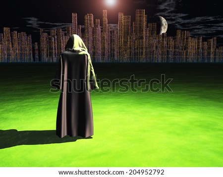Traveler before the great city - stock photo