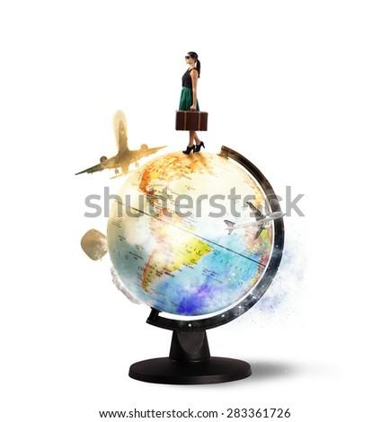 Traveler dreams of turning around the world - stock photo