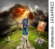 Traveler in a storm rises by the mountain - stock photo