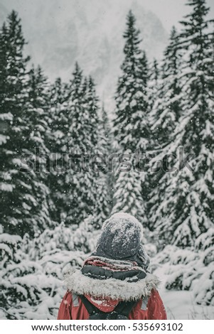 Traveler looking at mountain in snow covered forest