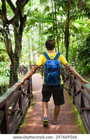 Traveler rear view backpack walk jungle green forest park, hiking tourist journey adventure