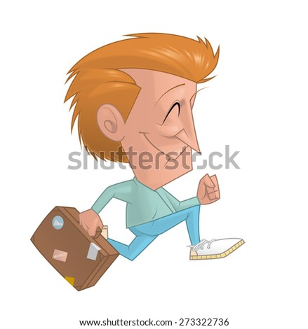 Traveler running with the suitcase - stock photo