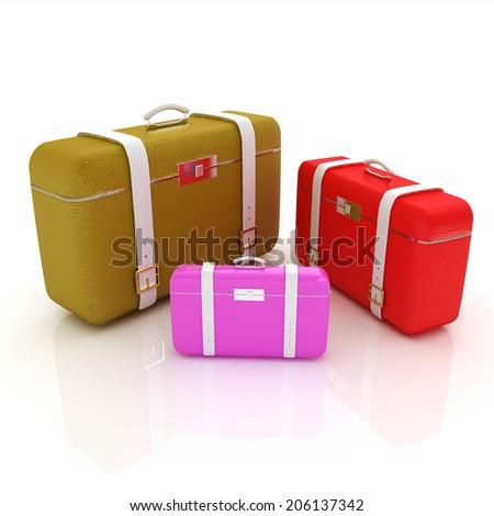 Traveler's suitcases. Family travel concept - stock photo