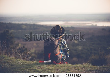 Traveler woman enjoy view. - stock photo