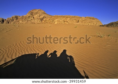 Traveling across Wadi Rum (The Valley of the Moon) - Jordan - stock photo