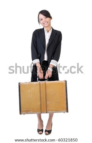 Traveling business woman with suitcase and smiling face standing, full length portrait isolated on white background. - stock photo