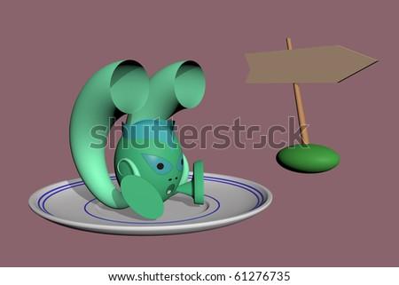Traveling by flying saucer (isolated, place for text) - stock photo