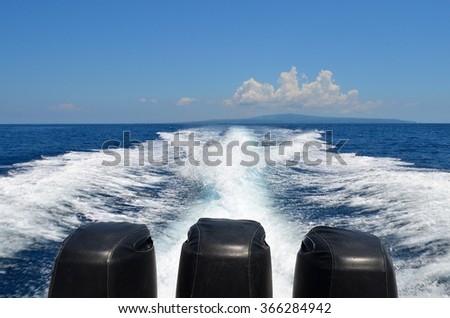 Traveling by speedboat in Bali Indonesia - stock photo