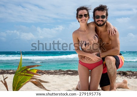 Traveling Central America, Mexico, Beautiful beach. Caribbean sea. - stock photo