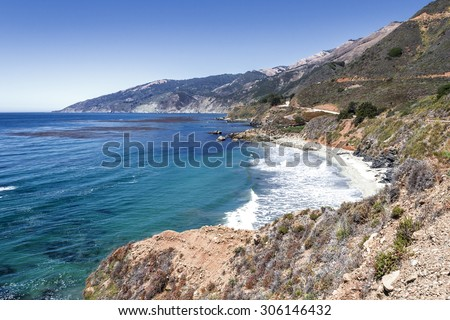 Traveling, hiking, waliking, biking and exploring the rugged Big Sur Highway (California State Highway 1), and Coastline; on the California Central Coast, near Limeklin State Park. - stock photo