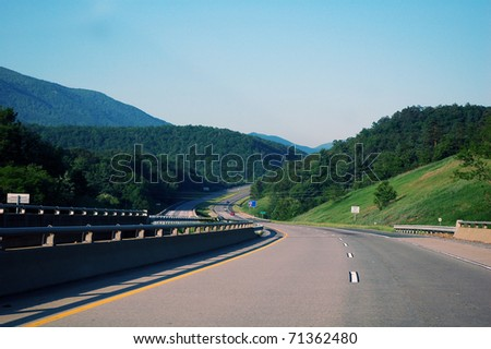 Traveling Interstate 64 West, Western Virginia, USA - stock photo