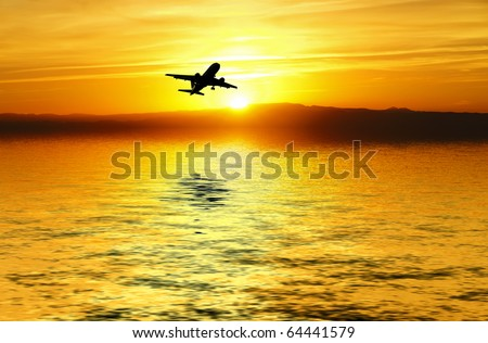 traveling over the ocean - stock photo