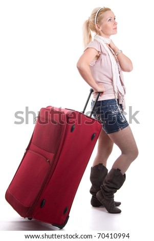Traveling pretty woman with luggage, on white background - stock photo