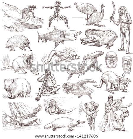 Traveling series: AUSTRALIA and Oceania - collection of an hand drawn illustrations. Description: full sized hand drawn illustrations isolated on white . - stock photo