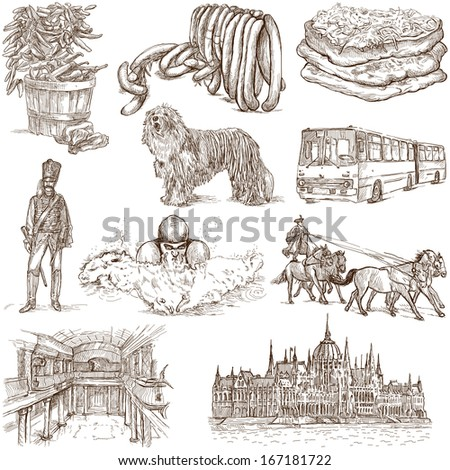 Traveling series: HUNGARY, part 1 - Collection of an hand drawn illustrations. Description: Full sized hand drawn illustrations isolated on white.