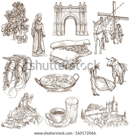 Traveling series: SPAIN, part 1 - Collection of an hand drawn illustrations. Description: Full sized hand drawn illustrations isolated on white background. - stock photo