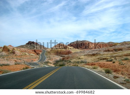 Traveling the road within the Painted Desert, Las Vegas Nevada