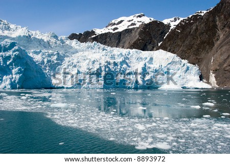 Traveling to Hubbard Glacier in Alaska - stock photo