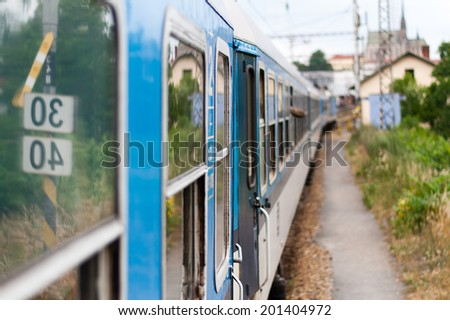 traveling train - window view - stock photo