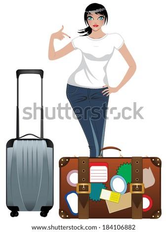 Cute Cartoon Stewardess Suitcase Stock Vector 391180186 ...